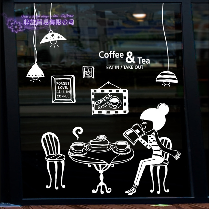 Coffee Sticker Girl Light Decal Cafe Poster Vinyl Art Wall Decals Pegatina Quadro Parede Decor Mural Coffee Sticker