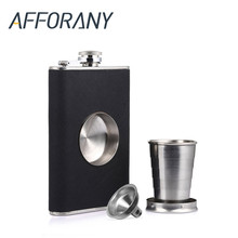 8oz Flagon Hip Flask Wine Pot Whiskey Stainless Steel Folding Cup Leak Proof Barware Drink Alcohol Whiskey Outdoor Wine Funnel(China)