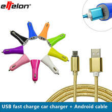 Effelon USB Car Charger 5.1V 2.1A 2 USB Car Charger Power Adapter + Micro USB Charging Cable For Huawei for Samsung for ZTE(China)