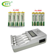 Original BTY N-903 AA AAA Battery Charger + 4x BTY AA 3000 Ni-MH Battery+4x BTY AAA 1350 1.2V Ni-MH Rechargeable Battery(China)