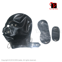 Black System Latex Hood blindfold mouth cover Zipper back nose buckled round ring belts Latex Mask Headgear Rubber hood TT-112(China)