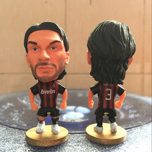 Soccerwe Classic 6.5 cm Height Resin Football Doll Milan 3 Maldini Figure in Red Black Kit(China)