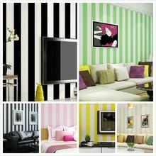 New Mediterranean Blue Simple Black White Vertical Striped Wallpaper TV Back Red Yellow Green Pink Children