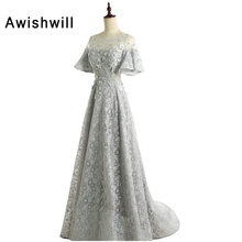 New Arrival A-Line Grey Lace Evening Dress 2018 With Flowers Corset Back Formal Dress Vestido de Festa Cheap Evening Gowns(China)