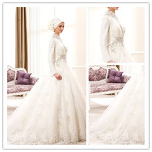 Plus Size Modern Saudi Arabia Long Sleeve High Collar Lace Muslim Wedding Dress Dubai Hijab Muslim Bridal Wedding Gown gelinlik