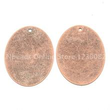 Jewelry Findings Oval Metal Tags,Red Copper Brass Blank Stamping Tag Pendants for Jewelry Making,40x30x0.3mm, Hole: 1.5mm