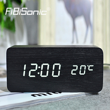 FiBiSonic Wooden Digital LED Alarm Clock  reloj despertador Sound Control Temperature Bedroom decor Electronic Desk Table Clock