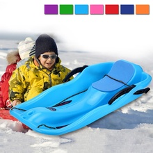 Children Sleds Outdoor Winter Plastic Skiing Boards Adult Snow Sleds Two Brakes Light Weight Thicken Plastic Ski Pad Toboggan