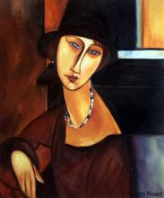 Museum Quality Abstract Oil Painting Jeanne Hebuterne with Hat and Necklace by Amedeo Modigliani Wall Decoration No Frame(China)