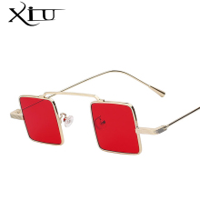 XIU Unique Vintage Sunglasses Men Square Shades Classic Steampunk Sunglasses Women Brand Designer Fashion Sea Color Lens UV400