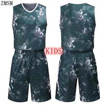 ZMSM 2017 Kids Throwback Basketball jerseys Printed Sports clothes Children's Basketball uniform Sets Vest Shorts Custom AL1725(China)