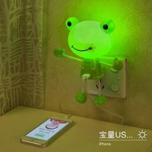 USB smile frog Creative cartoon led optical babies sleep a night light lamp of the head of a bed bedroom wall lamp mobile charge