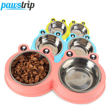 Pawstrip 1PC Cartoon Frog Design Pet Dog Bowl Double Dish Feeder Plastic+Stainless Steel Dog Cat Food Bowl