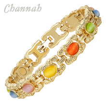 Channah 2017 Ladies Magnetic Bracelet Jewellery Ladies Gold Bangle Colourful Cat Eye Stones Wristband Bio Jewelry Charm