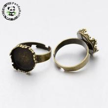 Nickel Free Adjustable Brass Pad Ring Setting Components for Jewelry Making, with Flat Round Brass Cabochon Settings, Antique
