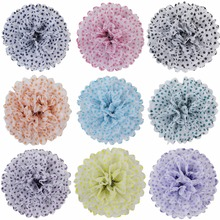 5 Pcs New 20cm Dot Paper Pom Poms Mix Party Decoration Home Hanging Flowers Balls Birthday Baby Shower Outdoor Decoration