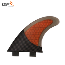 Free Shipping FCS Carbon Gray Orange quilhas surfboard fins fiberglass honeycomb Surf Fins fcs fins thruster fcs G5 for surfing(China)