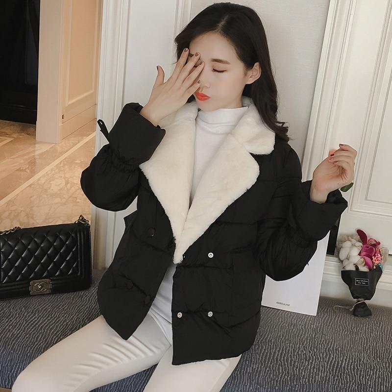 2017 Women Winter Jacket Lambswool Collar Short Jackets Coat Yellow warm jacket Women Long Sleeve Outwear female overcoatÎäåæäà è àêñåññóàðû<br><br>