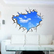 AWOO 3D Blue Sky White Cloud Wall Stickers Decal for Kids Baby Rooms Large Fluorescent Sticker Mural Art Home Decor Dropshipping(China)