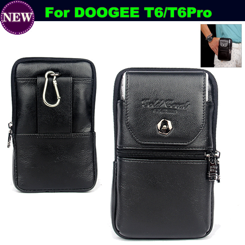 Luxury Genuine Leather Carry Belt Clip Pouch Waist Purse Case Cover Doogee T6 / Pro Waterproof Mobile Phone  -  Article Store store