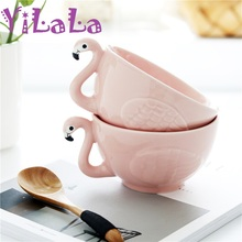 480ml Flamingo Decoration Pink 3D Ceramic Ramen Soup Snacks Dried Fruit Bowl Dessert Dishes Bone China Dinnerware(China)