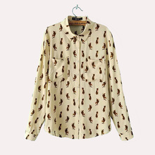 Women cute animal fox pattern work shirts blusa feminina loose cozy long sleeve Vogue brief female blouse pockets tops