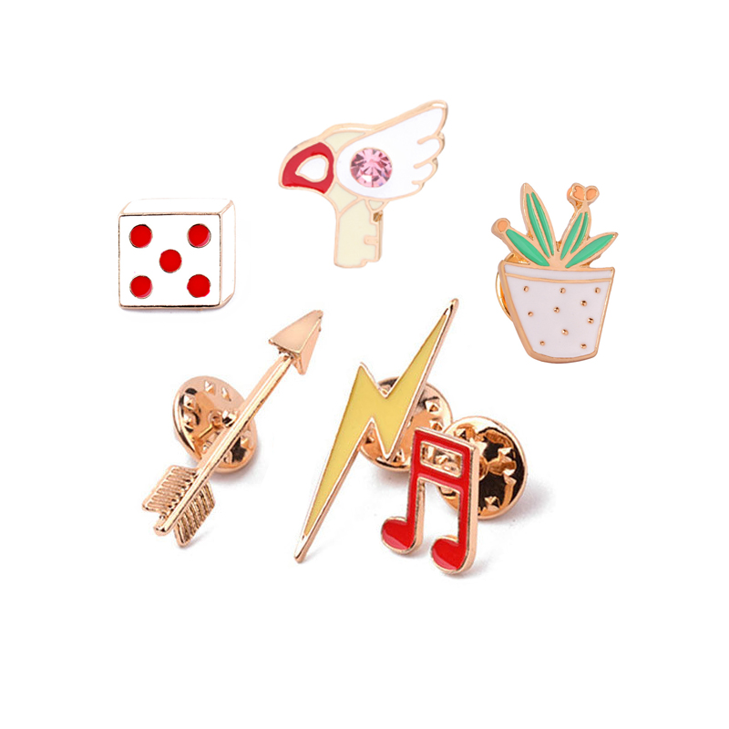 Arrow Lightning Music Note Dice Potted Plants Wings Enamel Brooch Pins Denim Clothes Hat Shirt Men Women Brooches Hot Sale(China)