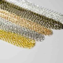 5m/lot Rhodium/Silver/Gold/Gunmetal/Antique Bronze Plated Necklace 5.5*1.8mm Chains Brass Bulk for DIY Jewelry Making Materials