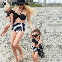 Family Clothing Parent-Child Swimsuit Mother and Daughter Striped Bikini Set Toddler Kids Swimming Bathing Suit Swimming