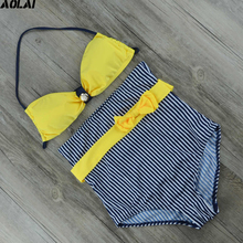 High Waist Bikini 2017 Striped Swimwear Women Yellow Swimsuit Bandeau Biquini Striped Bathing Suits Bow Swimming Suit Beachwear