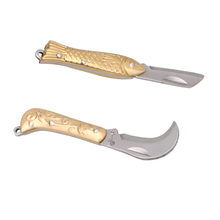 Mini Pocket Brass Fold Knife Gadget utility gadget tool blade keychain keyring camp hike outdoor parcel package open box letter(China)