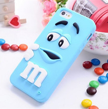Smart Mobile Phone Cases For iphone SE 5 5S 6 6S plus Cover High Quality 3D Cute M&M Chocolate Candy Bean Back Cases capa new
