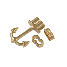 5Pcs/lot Hook Clasp For Leather Rope Bracelet Bangle Bar With Rhodium Rose Gold Anchor Connectors F0237(China)