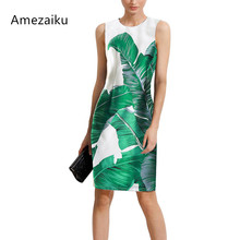 2017 runway dress verdes Green Color Banana Leaves Print Holiday Dress woman elbise party vestido office pencil dress Retro