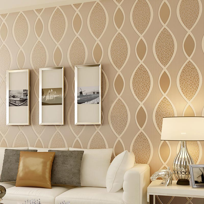 Modern Abstract Non-Woven Wallpaper 3D Embossed Flocking Wall Paper Living Room Bedroom Simple Home Decor Wallpaper For Wall 3 D<br>