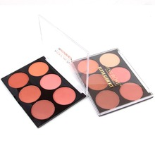 Miss Rose Pro 6 Color Makeup Blush Face Blusher Powder Palette Cosmetics Professional Makeup Smooth Contour Palette Set #248353