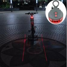 Bicycle LED Tail Light Safety Warning Light 5 LED+ 2 Laser Night Mountain Bike Rear Light Taillight Lamp Bycicle Light