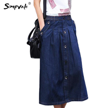 SIMPVALE Summer Denim Skirts Women Loose Pockets Designed Long A-line Skirt Ladies Jeans Skirts Plus Size L XXXL