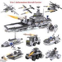 COGO 8in1 Building Block Military Army Aircraft ship tanks submarines 747pcs(China)
