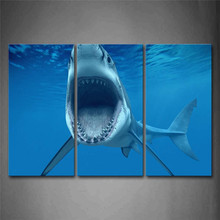 Big Shark Near Sea Surface Open Mouth In Blue Sea Wall Art Painting The Picture Print On Canvas Animal Pictures For Home Decor(China)