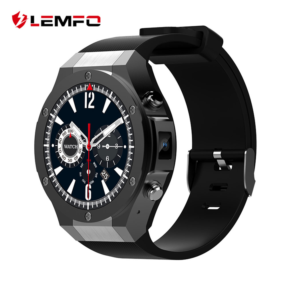 LEMFO 2018 New Smart Watch Android IOS 1GB + 16GB WhatsApp 3G SIM WIFI GPS Bluetooth 5MP Camera Smartwatch Phone Men