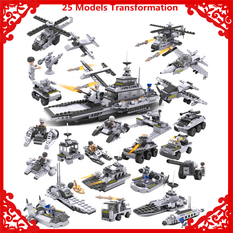 KAYGOO 13007 8In1 Aircraft Carrier Military Tank Building Block 743Pcs DIY Educational  Toys For Children Compatible Legoe<br>