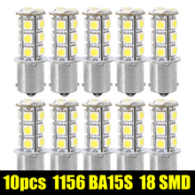 10Pcs 1156 BA15S / 1141 / 1073 / 1095 Base 18 SMD 5050 LED Replacement Auto Car Signal Light Lamp Bulb 12V Super White(China)
