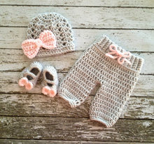 Free shipping Beanie in Gray and Pale Pink and Matching Pants and Booties Available in Newborn to 3 Month Size- MADE TO ORDER