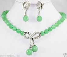 Free Shipping Beautiful Jewelry Green stone Bow Pendant Necklace Earring SetAA10(China)