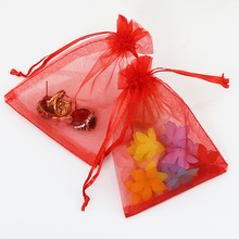 Fashion 1000pcs/lot Classic 9x12cm Red Color Organza Gift Bags Tulle Wedding Acrylic Makeup Gift Candy Packing Pouches(China)