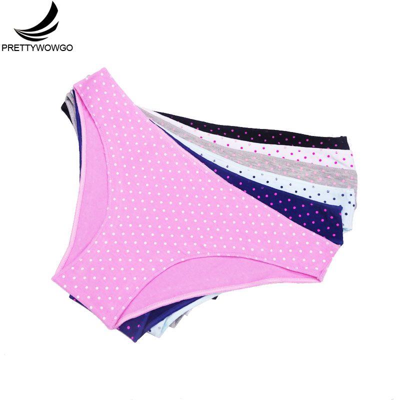 Prettywowgo 6 pcs/lot New Arrival Underwear 2019 Good Quality 6 Dot Print Cotton Low Waist Briefs Panties 817