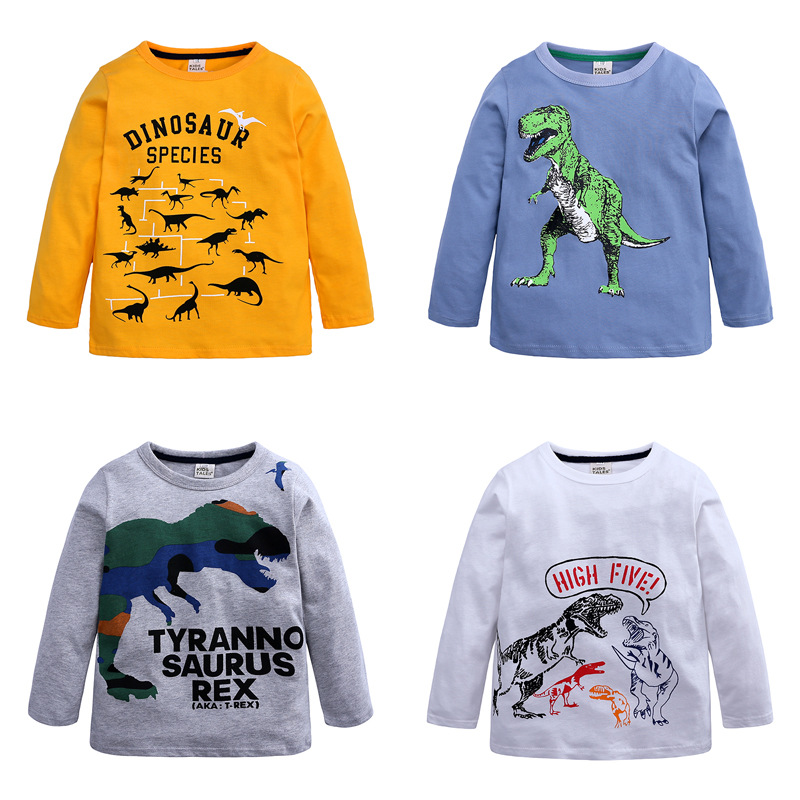 boys t shirt tops white cartoon Dinosaur animal print 2019 summer clothes kids tshirt Children Long Sleeve t-shirt tee cotton