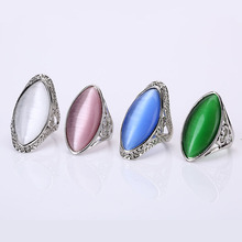 Female Punk Retro Wedding Rings Boho Vintage Unique Opal Rings Women's Accessories Jewelry Retro Large Natural Stone Party Rings