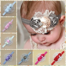 1 pcs Elastic Headbands Rose Flower Crystal Hairbands Baby Girl Children Head Hair Bands Headwear Hair Accessories(China)